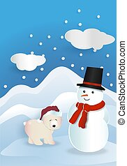 Bear wearing red hat with snowman wearing red bandana and black hat with white cloud and snow falling on blue background.