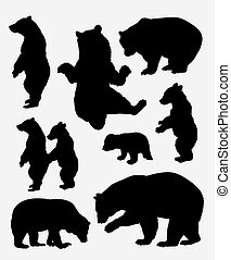 Bear wild animal silhouette. Good use for symbol, web icon, mascot, sign, sticker, or any design you want. Easy to use.