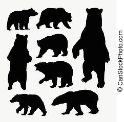 Bear wild animal silhouettes. Good use for symbol, web...