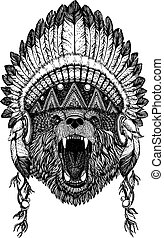Bear Wild animal wearing inidan headdress with feathers....