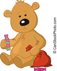 Bear with a bag and a sweet