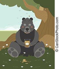 Bear with a jar of honey