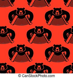 Bear with accordion seamless pattern. Wild beast and musical...