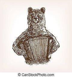 Bear with accordion sketch vector illustration