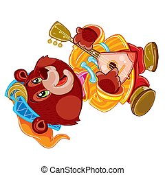 bear with balalaika and in a cap dancing at the fair, buffoon, isolated object on a white background, vector illustration,