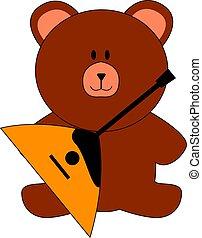 Bear with balalaika, illustration, vector on white background.
