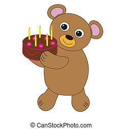 Bear with birthday cake.