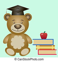 Bear with books. Vector illustration