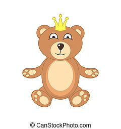 bear with crown isolated on white background
