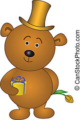 Bear with flower in cylinder
