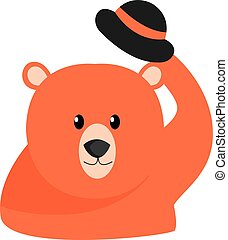 Bear with hat, illustration, vector on white background.