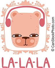 Bear with headphones in Scandinavian style with lettering and frame. Vector colorful animal singing and listening to the music with handwritten inscription.
