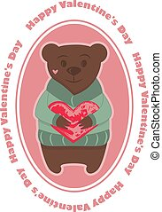Bear with heart and lettering
