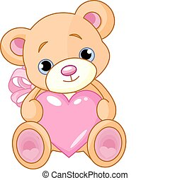 Bear with heart - Illustration of cute little Teddy bear ...
