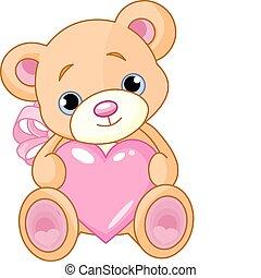 Bear with heart - Illustration of cute little Teddy bear ...