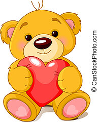 Bear with heart - Vector illustration of cute little Teddy ...