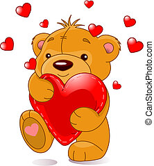 Bear with heart - Very cute Teddy Bear with red heart,...