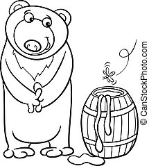 bear with honey cartoon coloring page - Black and White...