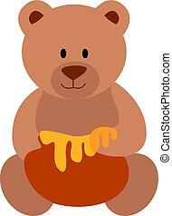 Bear with honey, illustration, vector on white background.