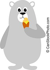 Bear with ice cream, illustration, vector on white background.