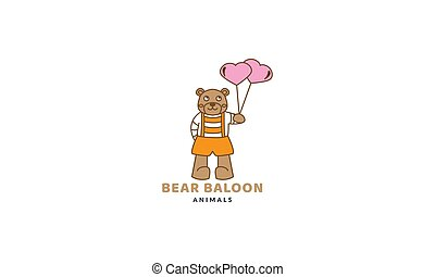 bear with love balloon  cute cartoon logo vector  illustration