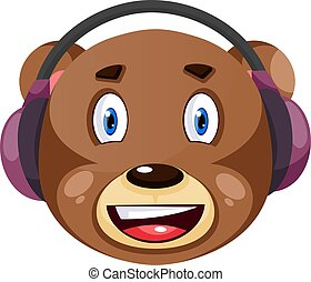 Bear with purple headphones on, illustration, vector on white background.