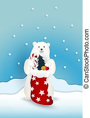 Bear with red present sack bag with snow falling on blue background