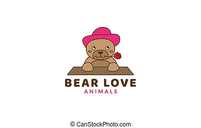 bear with rose flower and hat cute cartoon logo vector  illustration