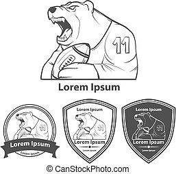 bear with rugby ball for logo, american football symbol,...