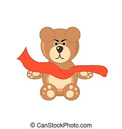bear with scarf on white background isolated