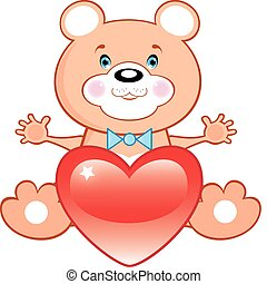 Bear withe heart. Valentines day - Bear withe red heart....