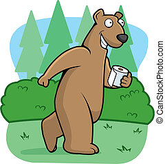 Bear Woods - A bear using the restroom in the woods.