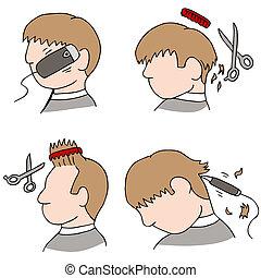 bearbeta, hårklippning