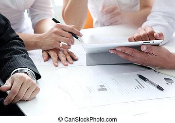 bearbeta, möte, affär, arbete, detaljerna