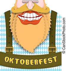 beard., bajor, összeszíjaz, costume., ajkak, smile., hozzátartozók festival, széles, fehér, nemzeti, piros, boldog, oktoberfest., nagy, ábra, németország, jókedvű, nagyapa, hagyományos, zöld, teeth.