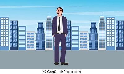 beard businessman standing with city background