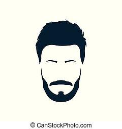 beard., coiffure, moderne, hipster, branché, moustache