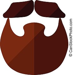 Beard flat icon with hipster mustache