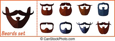 Beard flat icons set with hipster mustache