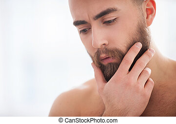Beard handsome. Portrait of confident young beard man holding hand on chin and looking away
