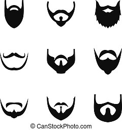 Beard icons set, simple style