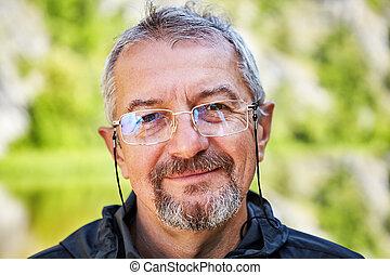 beard., intellectuel, sourire, lunettes