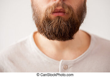 Beard man. Close-up cropped image of bearded mens face isolated on grey