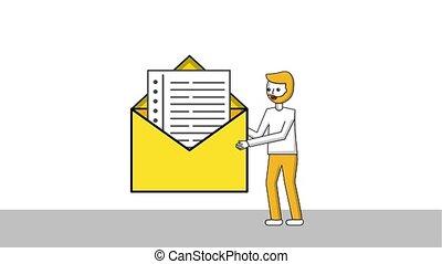 beard man holding big envelope message letter animation hd