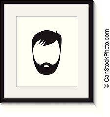 beard man in a frame