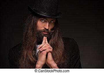 Beard man in hat
