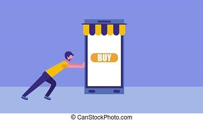 beard man pushing smartphone online buy animation hd
