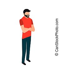 beard man standing with folded arms