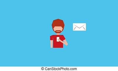 beard man with smartphone sending messages email animation