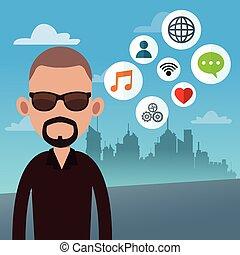 beard man with social media icons
